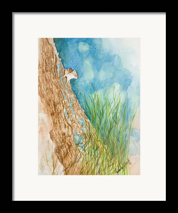 Wildlife Framed Print featuring the painting Chipmonk by Wade Clark