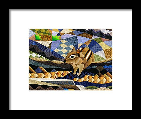 Bruce Bodden Framed Print featuring the painting Chipmunk At Heckrodt by Bruce Bodden
