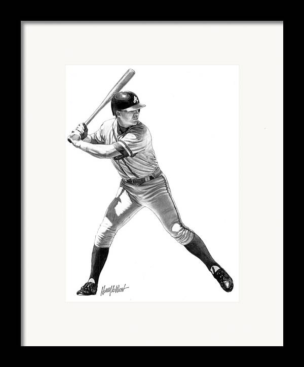 Chipper Jones Framed Print featuring the drawing Chipper Jones by Harry West