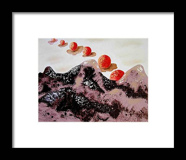 Framed Print featuring the painting Chocolate Mountains by Evguenia Men