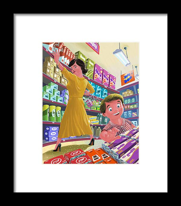 Chocolate Framed Print featuring the painting Chocolate Shopping by Martin Davey