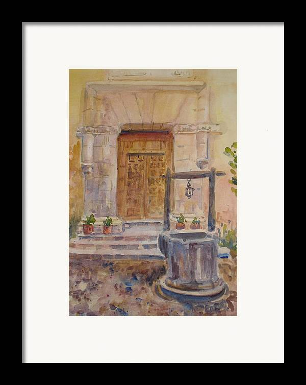 Doorway Framed Print featuring the painting Chris Coloh House Well by Joyce Kanyuk