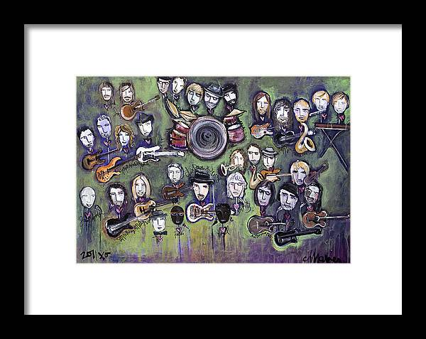 Chris Daniels Framed Print featuring the painting Chris Daniels And Friends by Laurie Maves ART