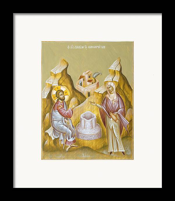 Christ And The Samaritan Woman Framed Print featuring the painting Christ And The Samaritan Woman by Julia Bridget Hayes