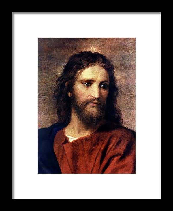 Jesus Prints Framed Print featuring the painting Christ At 33 by Heinrich Hofmann