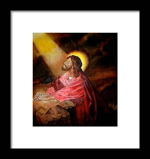 Christ Framed Print featuring the painting Christ At Gethsemane by G Cuffia