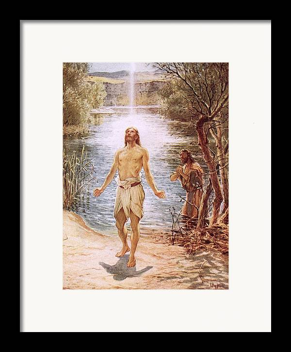 Christ Baptised By John The Baptist By William Brassey Hole (1846-1917)lake Framed Print featuring the painting Christ Baptised By John The Baptist by William Brassey Hole