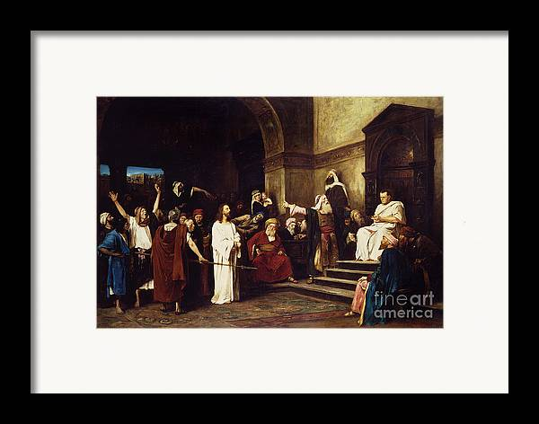 Christ Framed Print featuring the painting Christ Before Pilate by Mihaly Munkacsy
