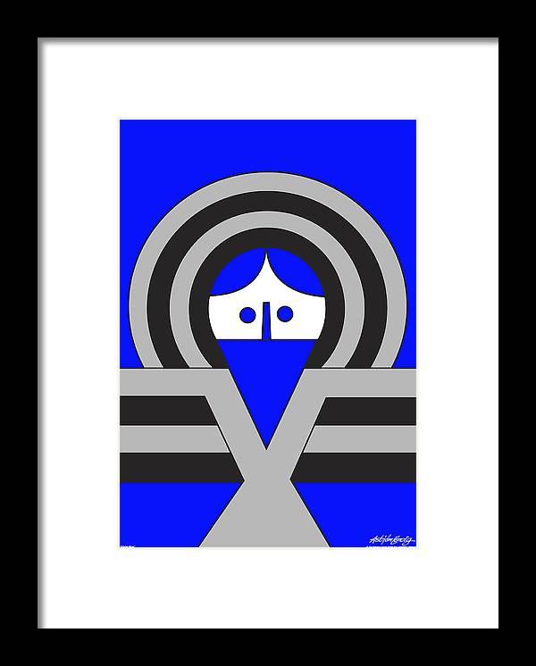 Christ Blue Framed Print featuring the digital art Christ Blue by Asbjorn Lonvig