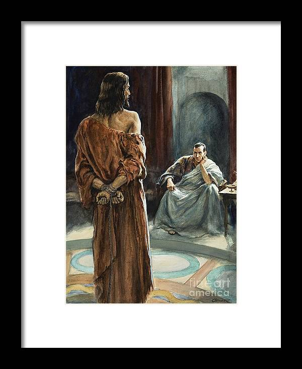 Christ; Pilate; Trial; Roman; Toga; Governor; Bible; Jesus; Rome Framed Print featuring the painting Christ In Front Of Pontius Pilate by Henry Coller