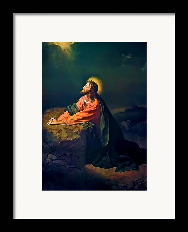 Christ In The Garden Print Framed Print featuring the painting Christ In Garden Of Gethsemane by Heinrich Hofmann
