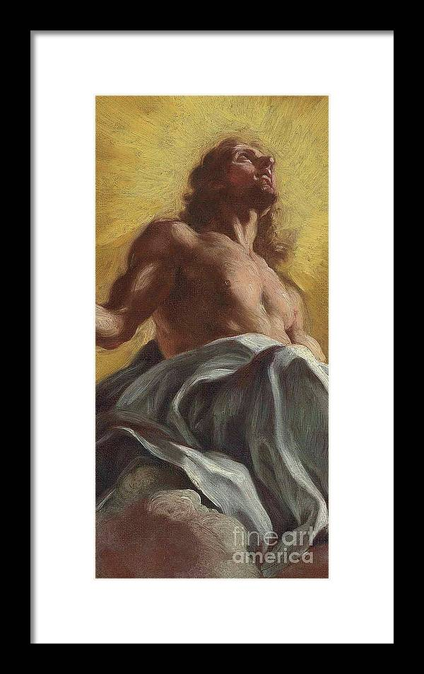 Jesus Christ Framed Print featuring the painting Christ In Glory Detail by Il Baciccio