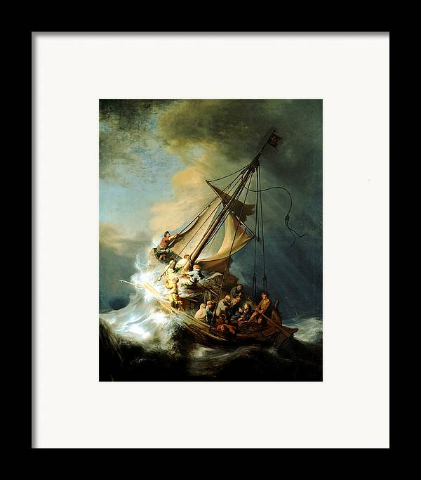 Christ In Storm Framed Print featuring the painting Christ In The Storm by Rembrandt