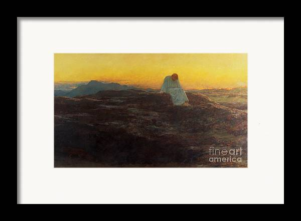 Christ In The Wilderness Framed Print featuring the painting Christ In The Wilderness by Briton Riviere