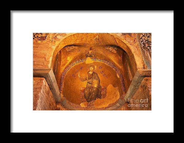 Fatih Framed Print featuring the photograph Christ Mosaic by Bob Phillips