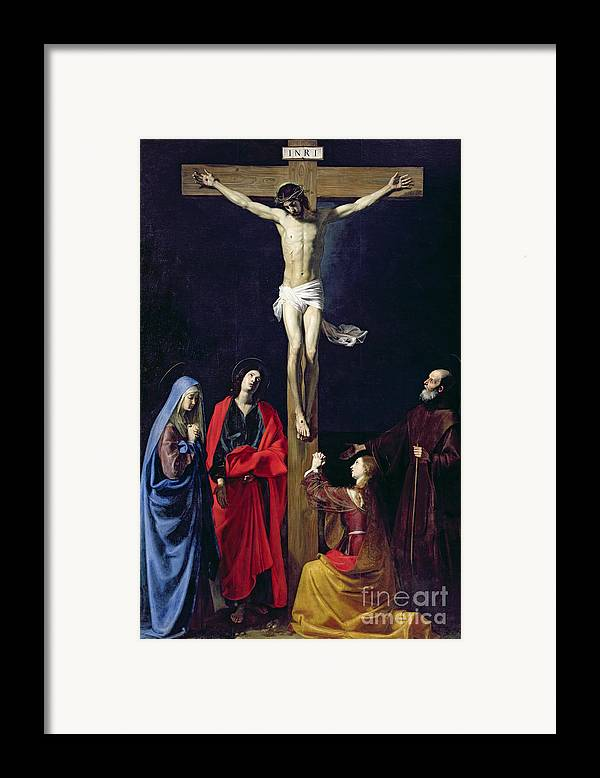 Christ Framed Print featuring the painting Christ On The Cross With The Virgin Mary Magdalene St John And St Francis Of Paola by Nicolas Tournier