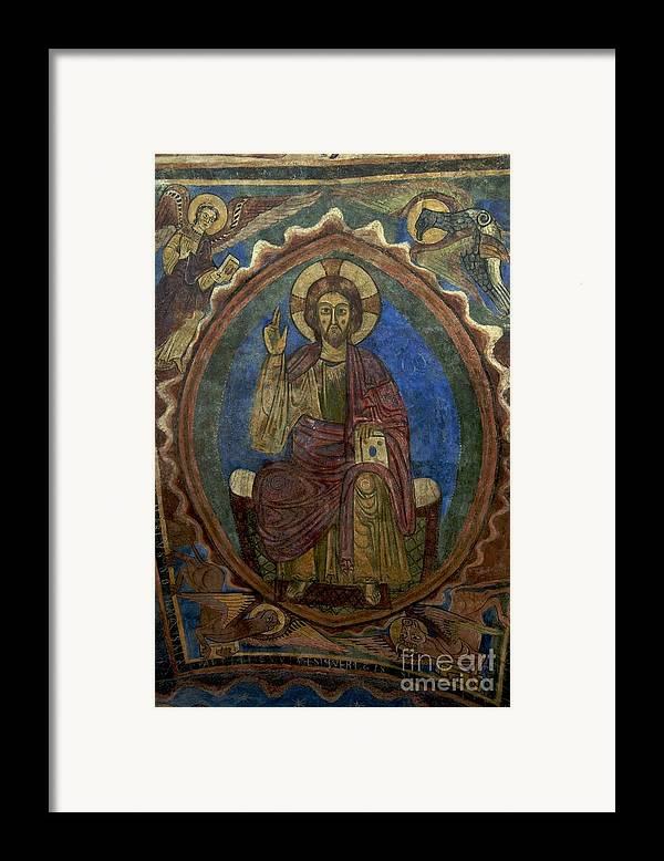 Art Roman Framed Print featuring the photograph Christ Pantocrator Fresco. Basilica Saint-julien. Brioude. Haute Loire. Auvergne. France. by Bernard Jaubert