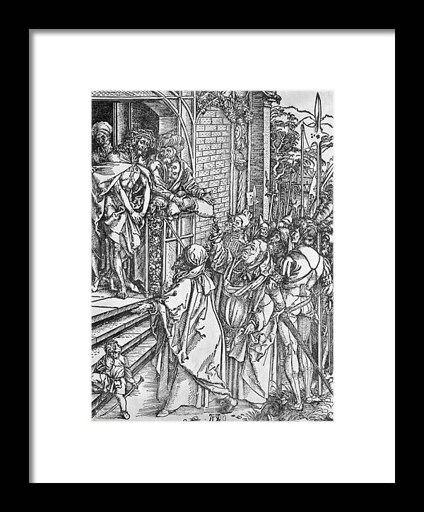 Ecce Homo Framed Print featuring the drawing Christ Presented To The People by Albrecht Durer