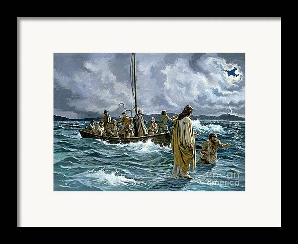 Christ Framed Print featuring the painting Christ Walking On The Sea Of Galilee by Anonymous