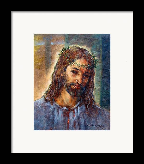 Christ Framed Print featuring the painting Christ With Thorns by John Lautermilch