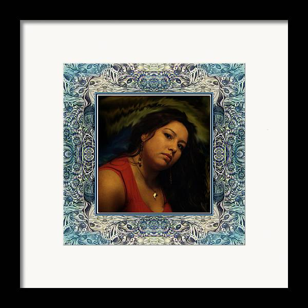 Portrait Glamour Fantasy Muse Framed Print featuring the digital art Christan Cameo by Otto Rapp