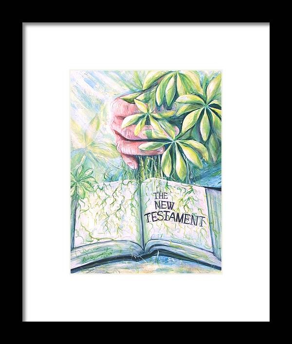 Contemporary Framed Print featuring the painting Christian Artist Rooted In The Word by Renee Dumont Museum Quality Oil Paintings Dumont