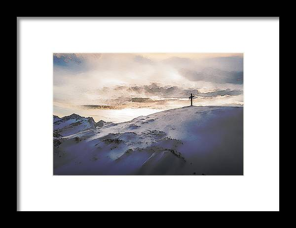 Christianity Framed Print featuring the digital art Christian Cross On Mountain by Phil Perkins