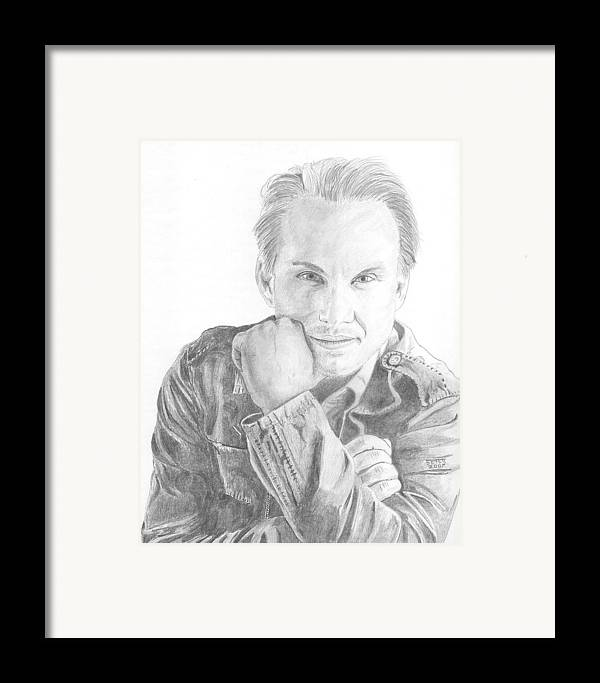 Christian Slater Framed Print featuring the drawing Christian Slater by David Seter