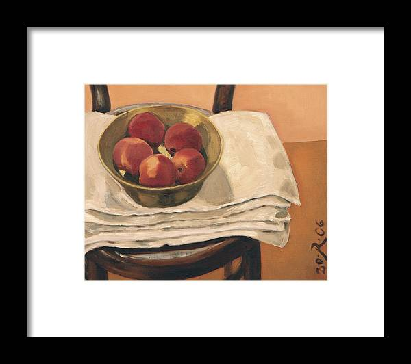 Still-life Apples Chair Red Yellow Gold Framed Print featuring the painting Christmas Apples by Raimonda Jatkeviciute-Kasparaviciene