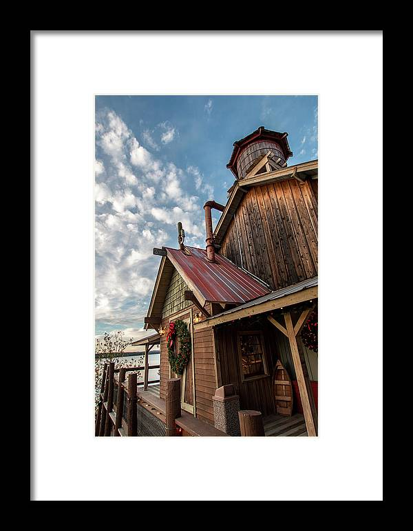 Christmas Framed Print featuring the photograph Christmas Barn On The Lake by Steven Jones