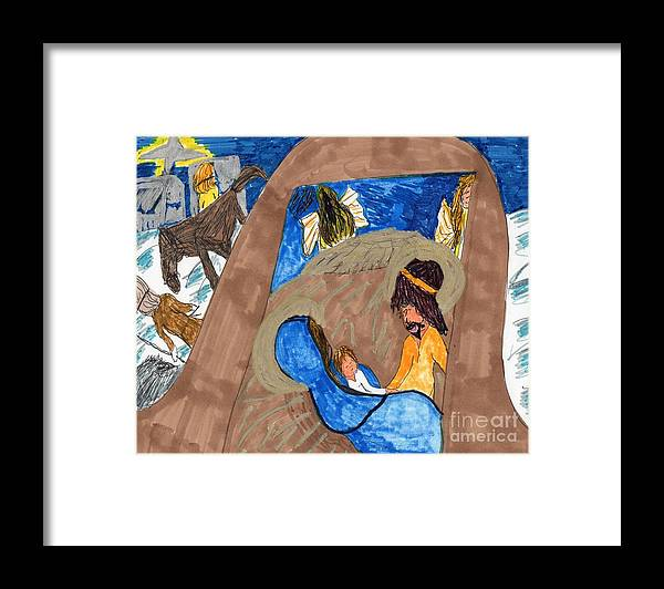 Nativity Framed Print featuring the mixed media Christmas Blessings by Elinor Helen Rakowski
