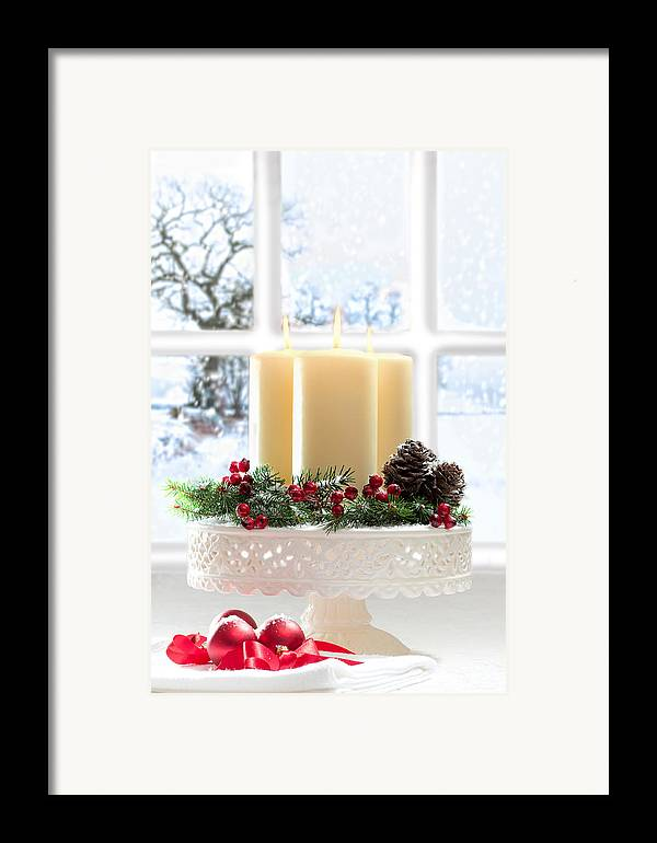 Christmas Framed Print featuring the photograph Christmas Candles Display by Amanda Elwell