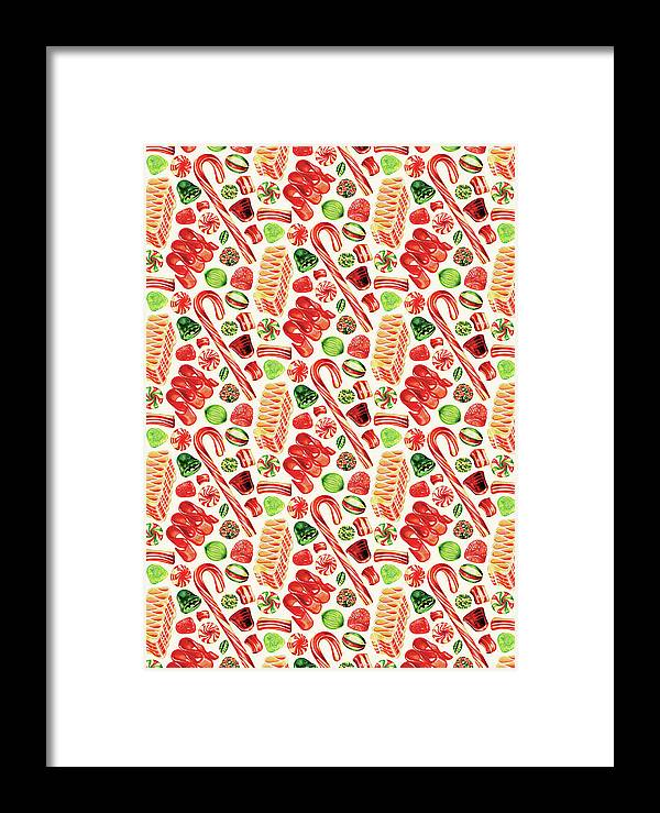 Christmas Framed Print featuring the painting Christmas Candy by Kelly Gilleran