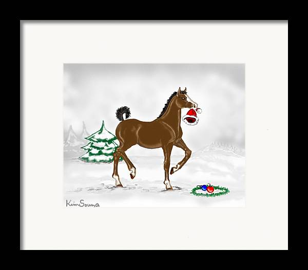Christmas Framed Print featuring the painting Christmas Colt by Kim Souza