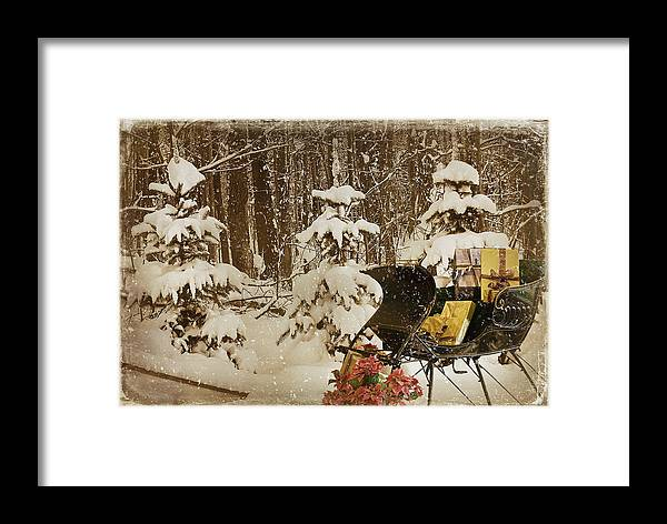 Christmas Framed Print featuring the mixed media Christmas Delivery by Maria Dryfhout