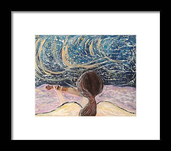 Angel Framed Print featuring the painting christmas Eve and a Starry Night by J Bauer