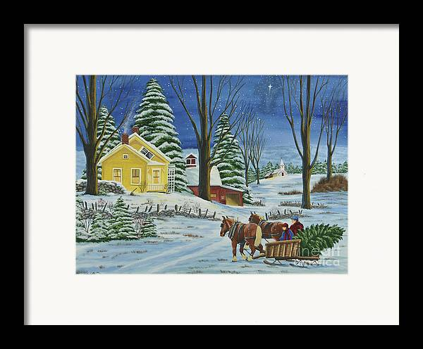 Winter Scene Paintings Framed Print featuring the painting Christmas Eve In The Country by Charlotte Blanchard