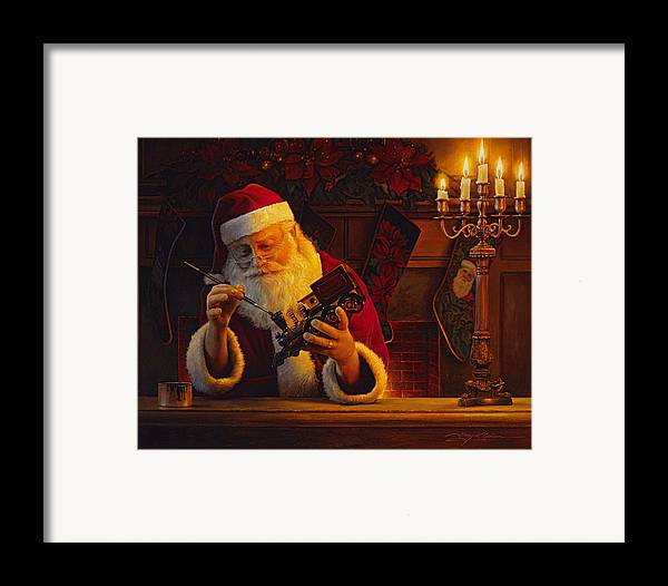 Christmas Framed Print featuring the painting Christmas Eve Touch Up by Greg Olsen