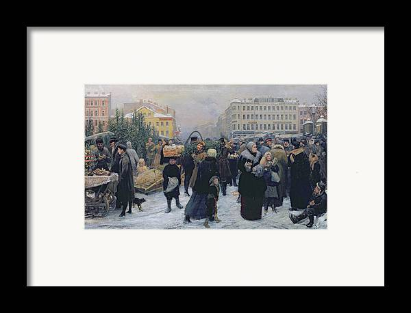 Christmas Framed Print featuring the painting Christmas Fair by Heinrich Matvejevich Maniser