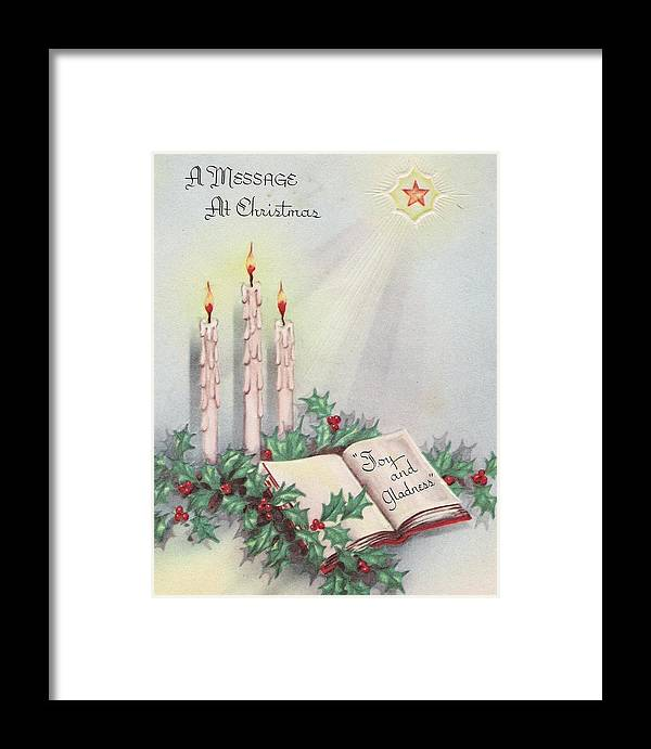 Vintage Christmas Candles.Christmas Greetings 806 Vintage Christmas Cards Christmas Candles And Mistletoe Framed Print
