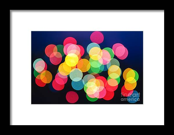 Blurred Framed Print featuring the photograph Christmas Lights Abstract by Elena Elisseeva