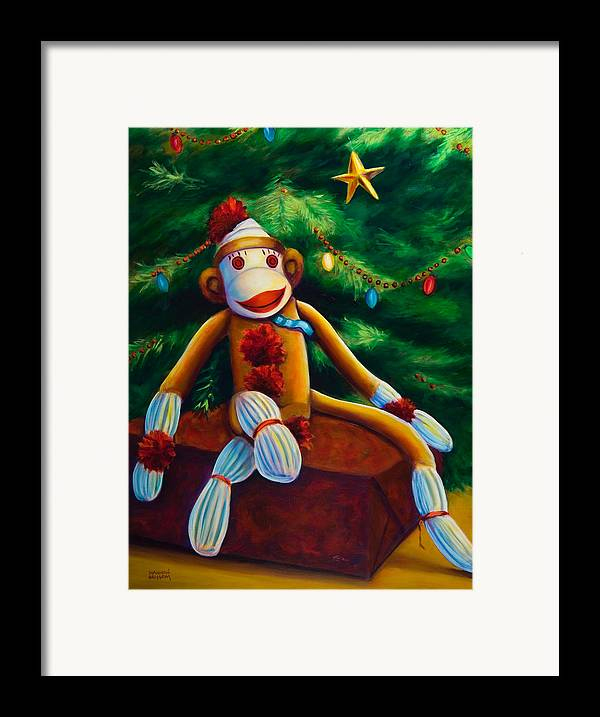 Sock Monkey Framed Print featuring the painting Christmas Made Of Sockies by Shannon Grissom