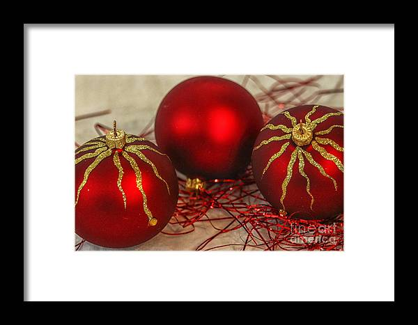 Background Framed Print featuring the photograph Christmas Ornaments by Patricia Hofmeester