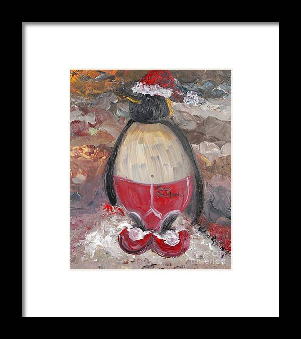 Penguin Framed Print featuring the painting Christmas Penguin by Nadine Rippelmeyer