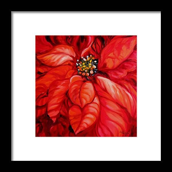 Red Framed Print featuring the painting Christmas Poinsettia by Marcia Baldwin