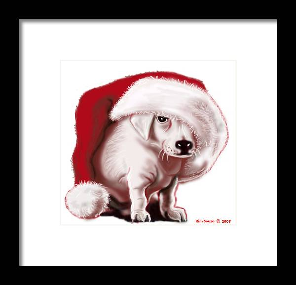 Christmas Framed Print featuring the painting Christmas Pup by Kim Souza