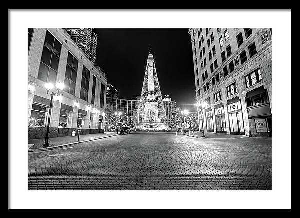 Midnight at the Indianapolis Monument Circle of Lights by Gregory Ballos