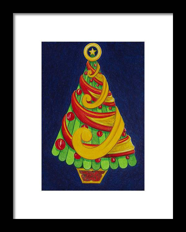 Christmas Framed Print featuring the drawing Christmas Tree No. Three by Rick Ahlvers