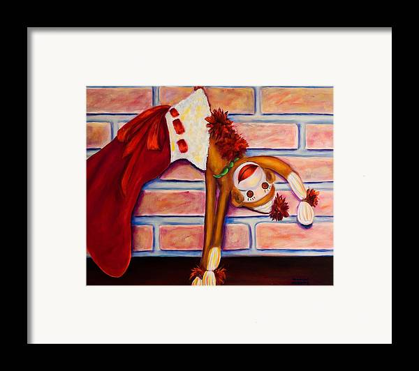 Sock Monkey Framed Print featuring the painting Christmas With Care by Shannon Grissom