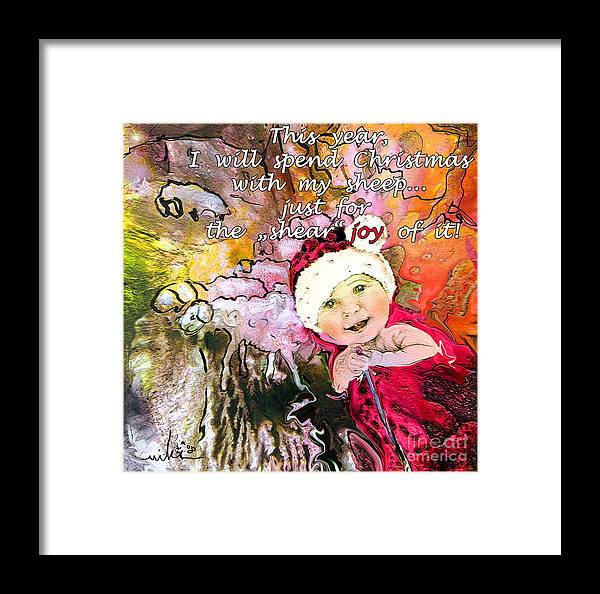 Acrylics Framed Print featuring the painting Christmas With My Sheep by Miki De Goodaboom
